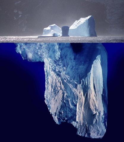 Vue complète d'un iceberg. La partie submergée au dessus du niveau de l'eau, la partie immergée sous le niveau de l'eau