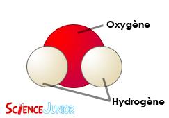 Schéma d'une molécule d'eau