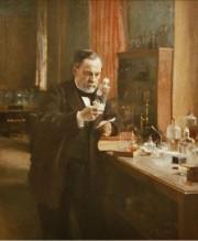 Tableau représentant Louis Pasteur dans son laboratoire